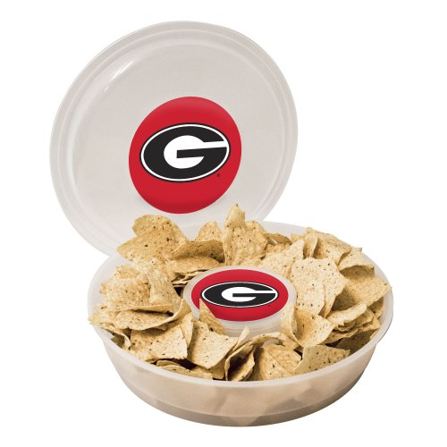 NCAA Georgia Bulldogs Plastic Chip and Dip Container (Chip Georgia)