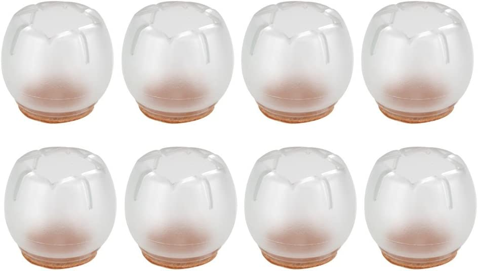 BQLZR Round 26-30mm Transparent Silicon Gel Chair Leg Caps Feet Pads Furniture Table Covers Wood Floor Protectors Pack of 8