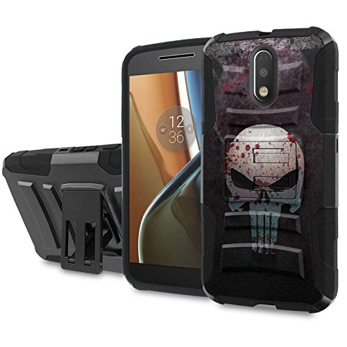 Moto [G4] [G4 Plus] Armor Case [SlickCandy] [Black/Black] Heavy Duty Defender [Holster] - [Punisher] for Motorala G [4th Gen] [G4 XT1625] [G4 Plus XT1644] -  SlickCandy for Moto [G4] [G4 Plus], P-MOTOG4-1E6-BKBK-CBT-P019C