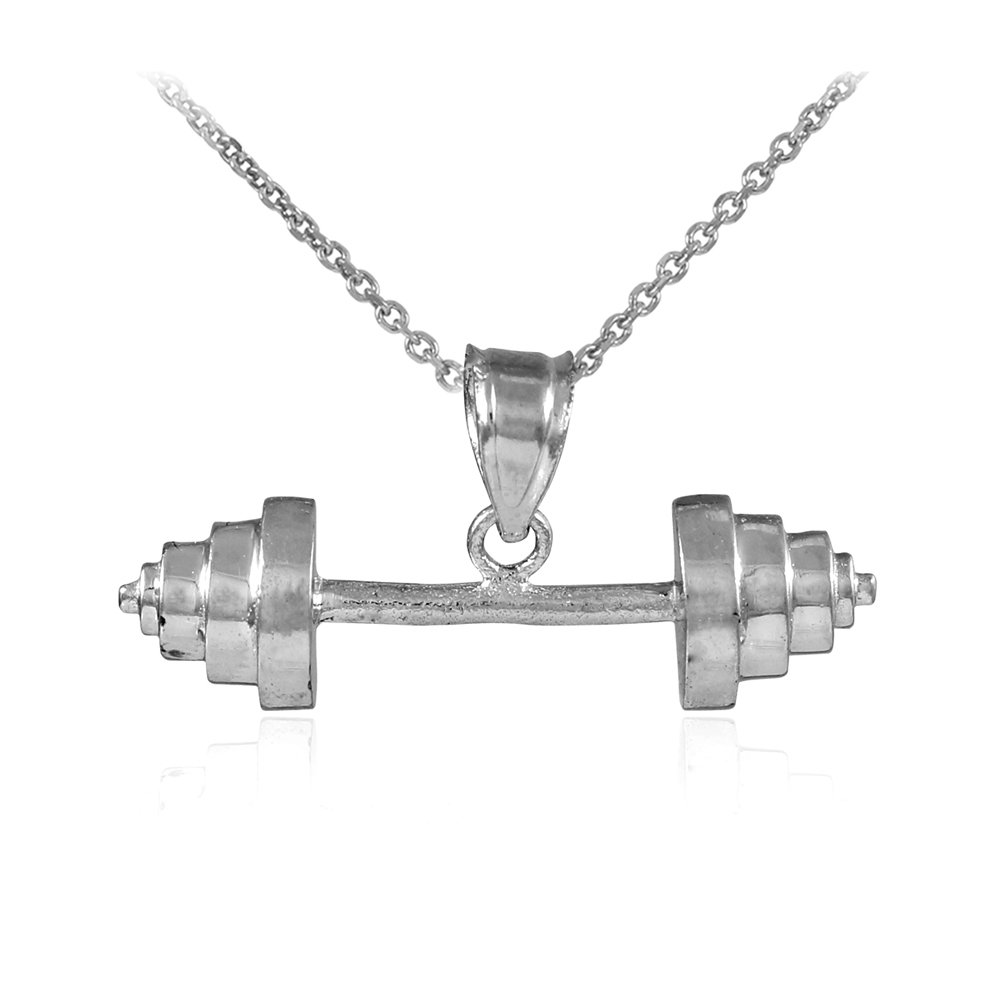 10k White Gold Weightlifting Barbell Sports Pendant Necklace, 22''
