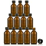 Amber Glass Empty Bottles with Caps - for Essential Oils, Extracts, & Other Liquids - Perfect for Light Sensitive Liquids - 12 Pack - 2 oz.