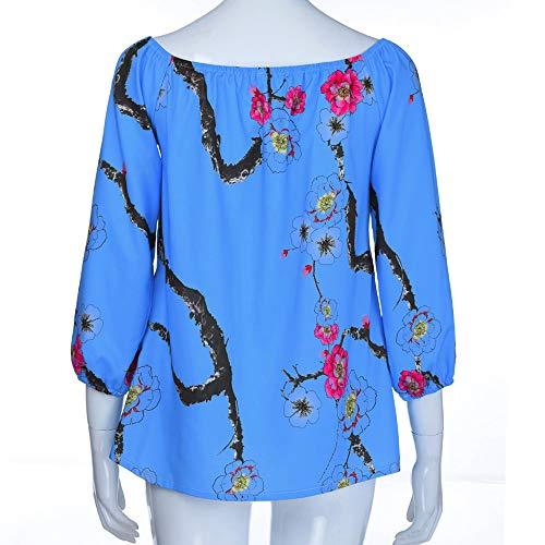 Impression T Chemisier Tops Casual Off Mode Chemisier Shirts Femme Femmes Beikoard Femme Bleu Chic paule Mode Blouse xw4fnTgHq