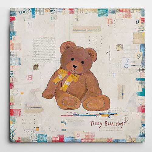Renditions Gallery Teddy Bear Hugs Animal Decor for Nursery, Kid Room, Playroom, Wall Art, 16X16