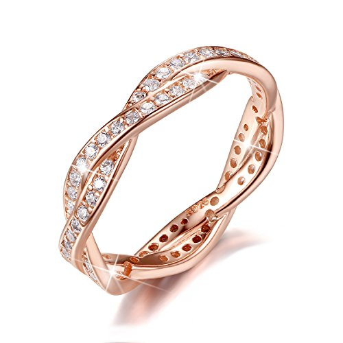 BAMOER Rose Gold Plated Eternity Promise Rings Wedding Jewelry 925 Sterling Silver with CZ,Size 5