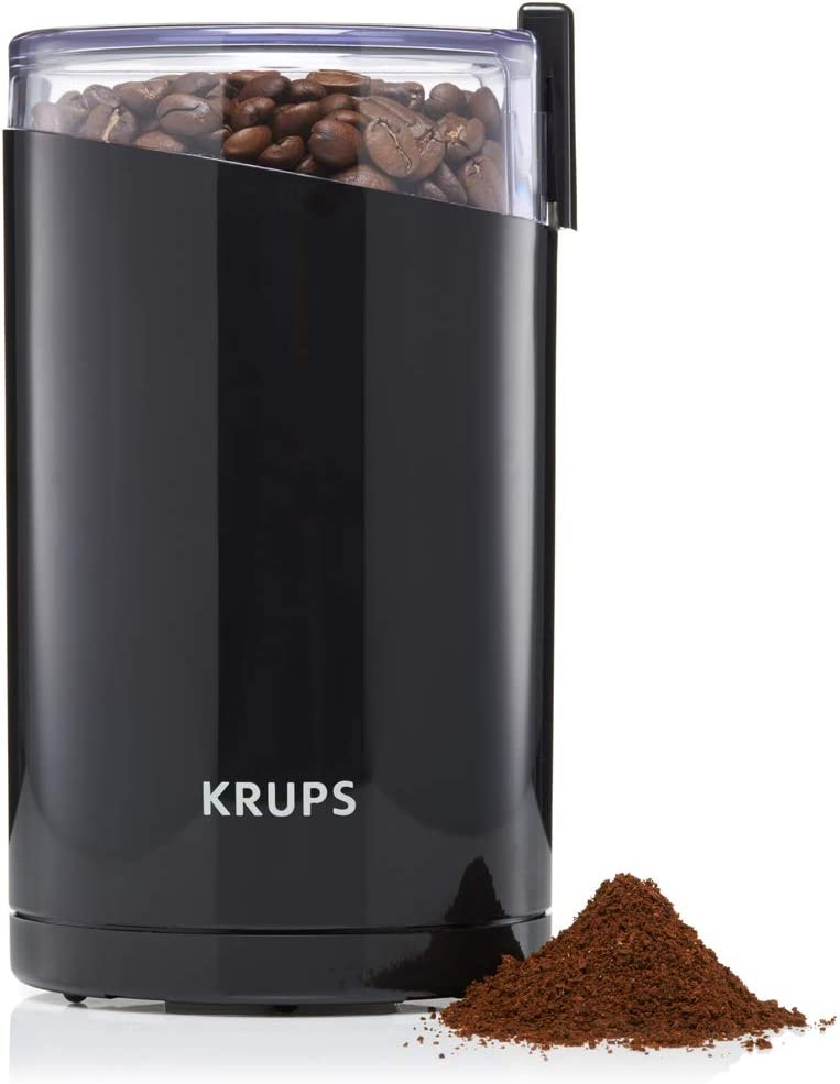 KRUPS F203 Electric Spice and Coffee Grinder with Stainless Steel Blades, Black