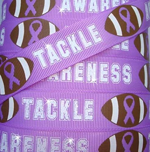 Ribbon Awareness Purple Rose - 7/8 Tackle Glitter Alzheimers Awareness Purple Football Grosgrain Ribbon 5YD Flowers, Arts & Crafts Gift Wrapping Wedding Decorations