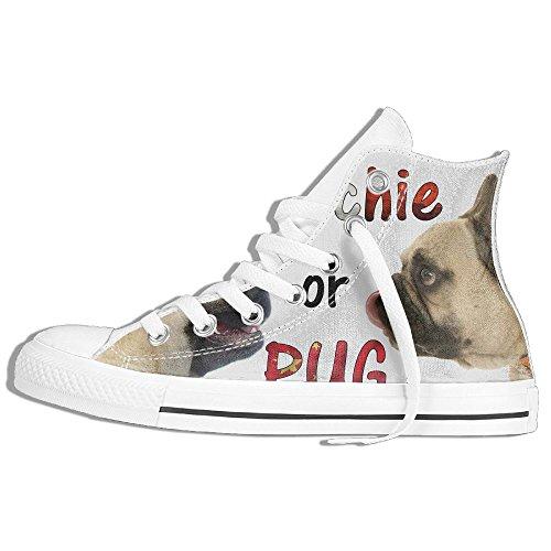 Classiche Sneakers Alte Scarpe Di Tela Antiscivolo Frenchie O Pug Casual Da Passeggio Per Uomo Donna Bianco
