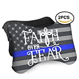 HASKDWHHK Thin Blue Line American Flag Faith Over Fear Car Neck Pillow (Soft Version)- Neck Pillow, Car Pillow, Memory Foam Neck Pillow, Neck Rest Pillow