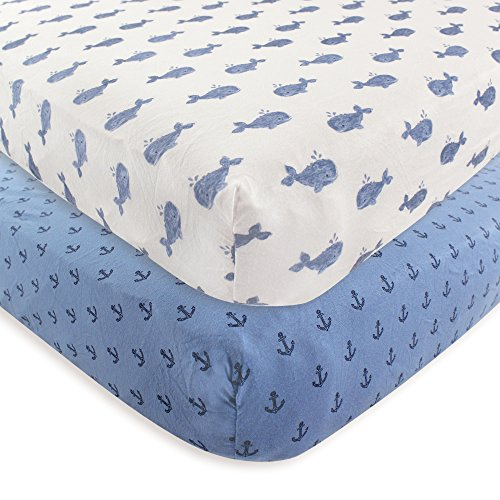 Hudson Baby 2 Piece Cotton Fitted Crib Sheet, Whale, One Siz