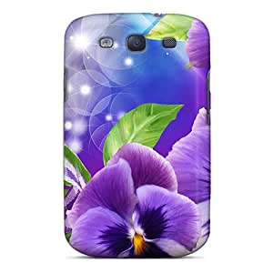 Kimmith Galaxy S3 Hybrid Tpu Case Cover Silicon Bumper Purple Perfect Pansies