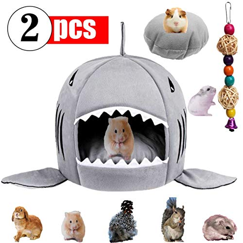 GABraden Small Pet Animals Bed,Cotton Warm Nest Mini House,for Dutch Pig Hamster Hedgehog Rat Chinchilla Guinea Habitat,Washable Shark Pet House Cave Bed
