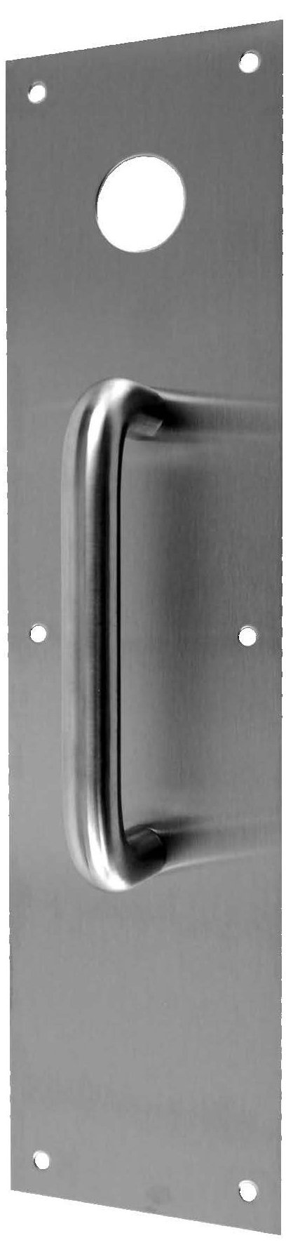 Don-Jo CFK7115 Stainless Steel Push and Pull Plate with Holes, Satin Stainless Steel Finish, 4'' Width x 16'' Height