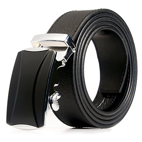 Men's Genuine Leather Belt with Automatic Buckle, Black/Brown, 35mm wide 1 3/8 inch--Great Gift Idea (Black clemence-style 3) (Love Belt)