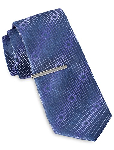 Gold Accent Series (Gold Series by DXL Circle Geometric Pattern Tie with Tie Bar)