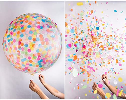 コスプレ小物・小道具 36インチ 紙吹雪風船 ジャンボクリアバルーン クレープ紙の満たされた色のパーティーの装飾 綺麗な コンフェッティ バルーン 新しい風船タイプ ランダム色