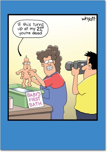 0184 'First Bath' - Funny Father's Day Greeting Card with 5