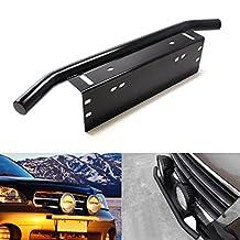 iJDMTOY Bull Bar Style Front Bumper License Plate Mount Bracket Holder For Off-Road Lights, LED Work Lamps, LED Lighting Bars, etc (Black, Universal Fit)