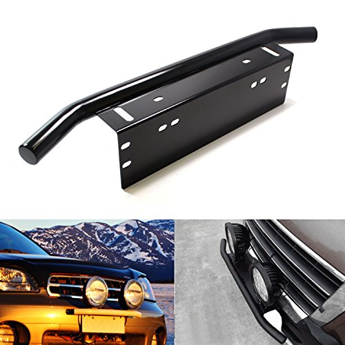 iJDMTOY Bull Bar Style Front Bumper License Plate Mount Bracket Holder For Off-Road Lights, LED Work Lamps, LED Lighting Bars, etc (Black, Universal Fit) (Ford Ranger Light Bar compare prices)