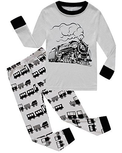 Dolphin&Fish Boys Train Pajamas Little Kids Pjs Sets 100% Cotton Toddler Sleepwears Size2T -