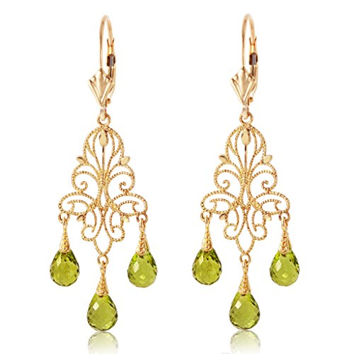 - 14K Yellow Gold Chandelier Earrings with Natural Peridots