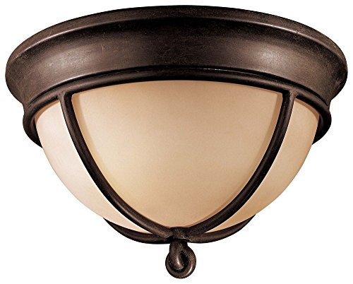 (Minka Lavery 976-1-138 Aspen - Two Light Flush Mount, Aspen Bronze Finish with Rustic Scavo Glass)