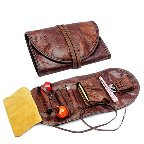 OLD FOX Pipe Pouch Cow Leather Tobacco Pipe Case Bag Organize Pipe Tool Lighter Holder Pocket for 2 Pipes Brown (FC0001)