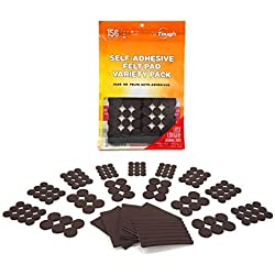 AllTough Heavy Duty Self Adhesive Felt Furniture Pads for Floor and Surface Protection Variety Value Pack-Chair and Furniture Sliders for Table Legs, Sofas, Lamps, TV's, and Potted Plants, 156 Piece