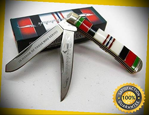 - 1404 Afghanistan War Veteran Commemorative Trapper Pocket Sharp Knife perfect for outdoor camping hunting