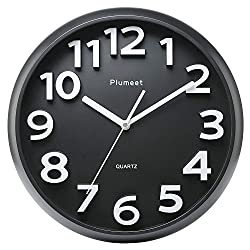 Plumeet Large Number Wall Clock, 13 Silent Non-Ticking Quartz Decorative Wall Clock, Modern Style Good for Living Room & Home & Office Battery Operated (Black)