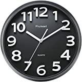"""Plumeet Large Number Wall Clock, 13"""" Silent Non-Ticking Quartz Decorative Wall Clock, Modern Style Good for Living Room & Home & Office Battery Operated (Black)"""