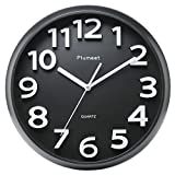 Plumeet Large Number Wall Clock, 13″ Silent Non-Ticking Quartz Decorative Wall Clock, Modern Style Good for Living Room & Home & Office Battery Operated (Black) For Sale