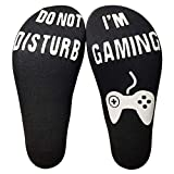 NRUTUP Men Unisex 'Do Not Disturb' Great Gamer Gift Letter Print Funny Ankle Socks(Black,Free Size)