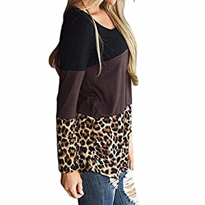 Womens Tunic Tops Among Fashion O-Neck Patchwork T-Shirts Lace Leopard Casual Long Sleeve Sexy Blouses Sweaters (M, Brown)