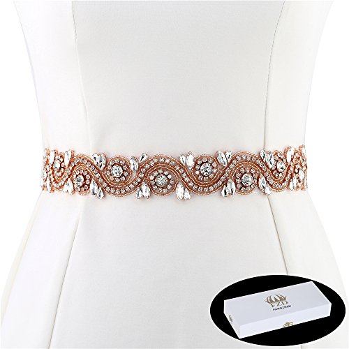 FANGZHIDI Wedding Applique Belt for Dress, 1 Yard Bridal Rhinestone Sash with Crystal Bead Pearls Trim for DIY- Best Gift for Women, Suit for Decorate Evening Gown by Sewing on/Iron on (Rose Gold)]()