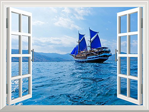 Wall26 Removable Wall Sticker / Wall Mural - Vintage Wooden Ship with Blue Sails near Komodo Island, Indonesia | Creative Window View Home Decor / Wall Decor - 36