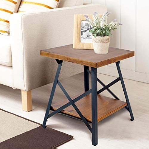 End Table, Wood End Table with Metal Legs, Living Room Set Brown