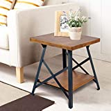 Dark Wood Living Room Tables Harper&Bright Designs WF036983DAA Lindor Collection Solid Wood End Table with Metal Legs,Living Room Set/Rustic Brown