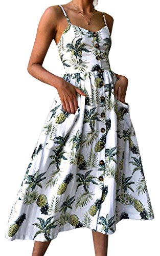 - Angashion Women's Dresses-Summer Floral Bohemian Spaghetti Strap Button Down Swing Midi Dress with Pockets White L