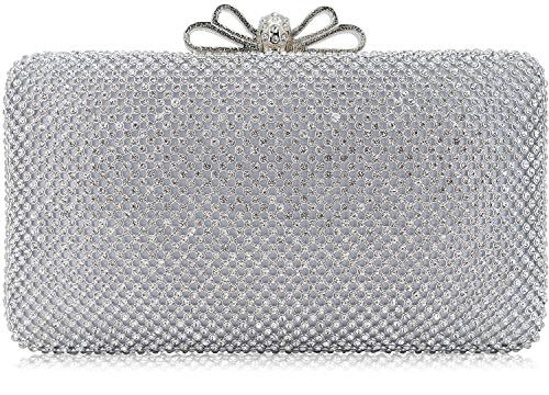 Dexmay Bling Rhinestone Crystal Clutch Purse Bow Clasp Women Evening Bag for Bridesmaid Wedding Party Silver ()