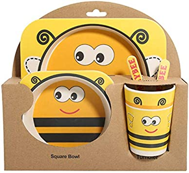 Shumo 5Pcs//Set Cartoon nimal Plate+Bow+Fork+Cup Baby Dinnerware Feeding Set Bamboo Fiber Baby Lovely Children Container Tableware Set Fawn