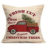 Aremazing Red Truck and Fresh Christmas Tree Throw Pillow Covers Cotton Linen Square Pillow Case Cushion Cover Home Decorative for Sofa 18''x18'' (Fresh Cut Christmas Trees)