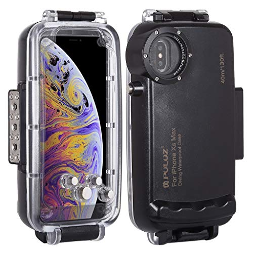 Diving Case Compatible with iPhone Xs MAX Waterproof Case Upgrade Professional Waterproof Camera Protective iPhone Xs MAX Case Underwater 40m/130ft Diving Surfing Swimming Snorkeling Photo (Black)