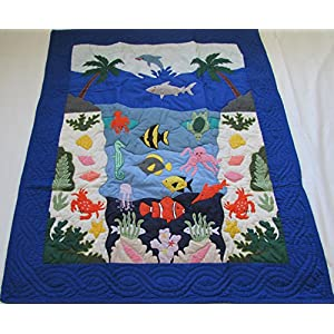 Hawaiian quilt Under The Sea crib baby comforter blanket hand quilted/wall hanging