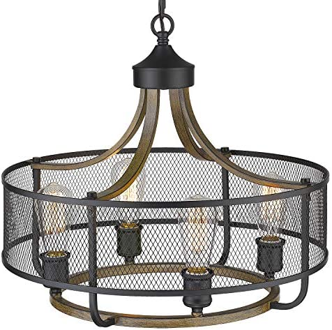 Osimir 4-Light Industrial Round Chandelier Lighting, 21 Inch Farmhouse Linear Kitchen Hanging Pendant for Dining Living Room, Matte Black Wood Finish, CH9166-4