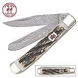 Kissing Crane Burnt Bone Damascus Trapper Pocket Knife For Sale