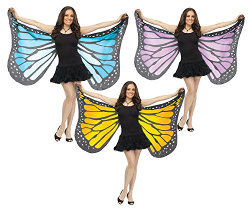 Fun World Women's Soft Butterfly Wings Adult Costume Accessory, orange Standard