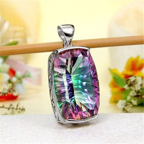 Jewelryongying11 Trendy 925 Silver Mystic Rainbow Topaz Pendant Chain Necklace 24 inches Gift