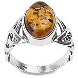 Sterling Silver Amber Celtic Design Ring