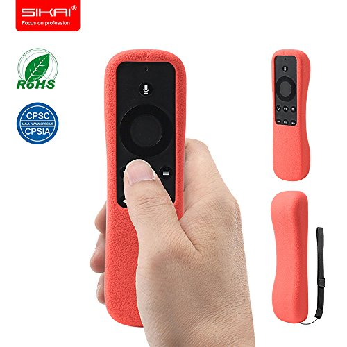 New Amazon Fire TV Stick With Voice Remote Case SIKAI Patent Amazon Fire TV Stick Remote Silicone Case for Amazon Fire TV Stick Remote Protector Case with Hand Strap Included (With Voice Red)