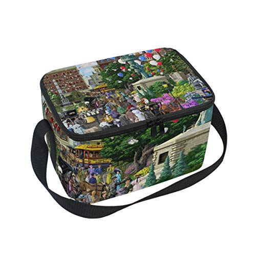 Broadway & 5Th Avenue Lunch Box Insulated Lunch Bag Large Cooler Tote Bag Picnic School Women Men Kids (Fifth Salad Avenue)